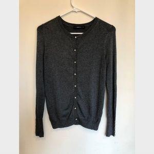 Zara Dark Gray Knit Button Down Cardigan S